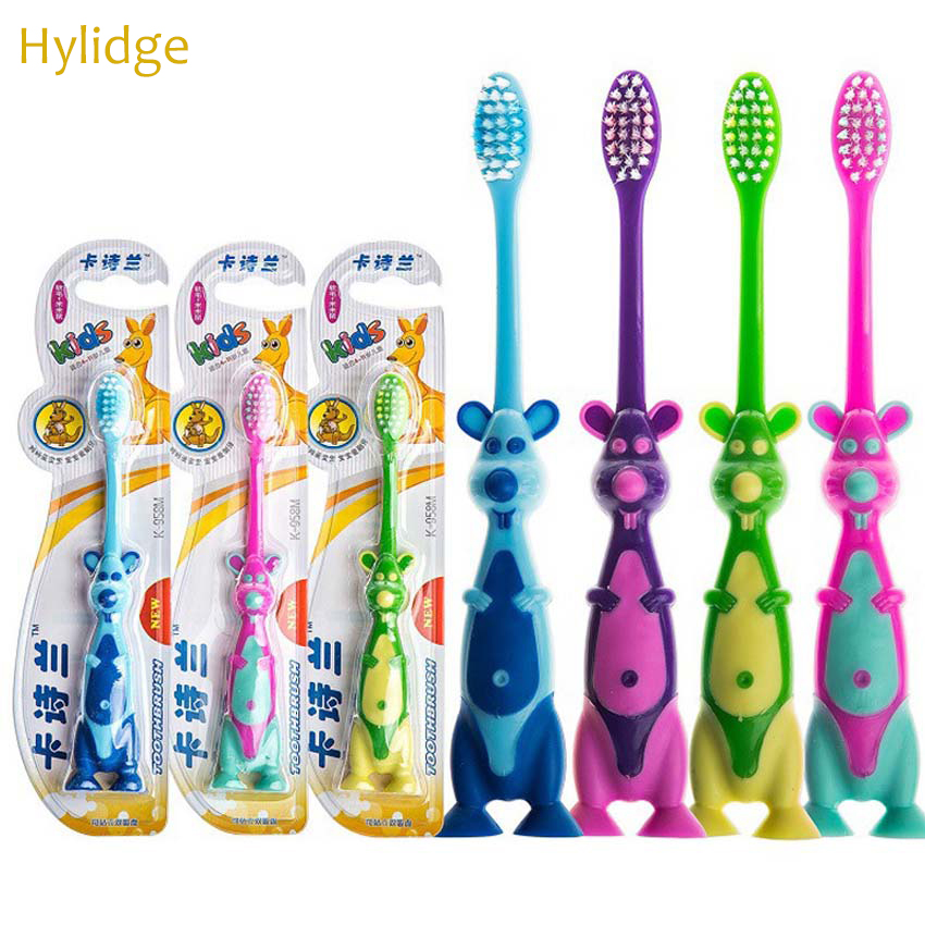1PC Soft Hair Children Kids Tooth Brush Cute Cartoon Animal Kangaroo Girl Boys Toothbrush 3-12 Yrs Old Teeth Cleaning Tool