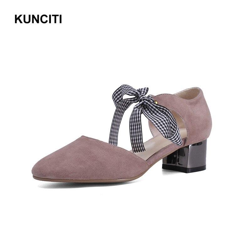 2019 รองเท้าผู้หญิง Elegant Suede หนังกลาง Heel ปั๊มรองเท้าน่ารักสีชมพู Bow Tie Lace Up Footwears Top คุณภาพ G967-ใน รองเท้าส้นสูงสตรี จาก รองเท้า บน   1