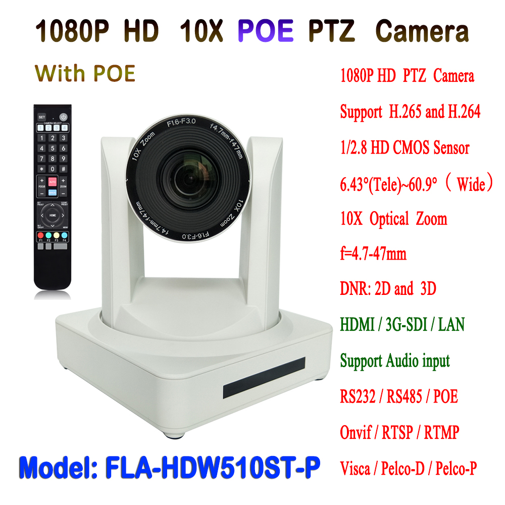 White Color 10x Optical Zoom HD full 1080p resolution PTZ Video Conference IP POE Camera With 3G-SDI HDMI Outputs image