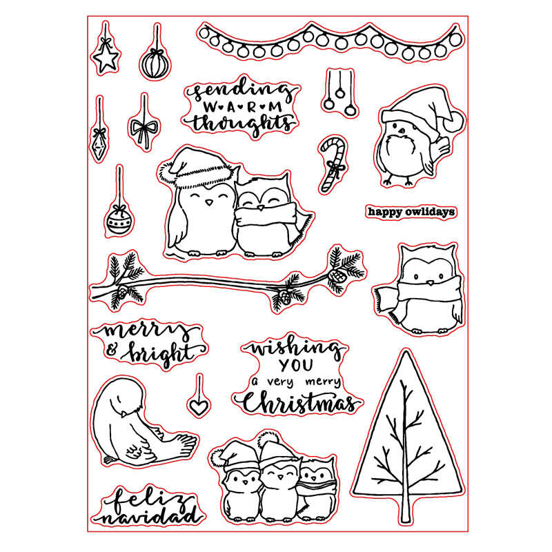 Merry Christmas Owl Pine Tree Clear Stamps for Scrapbooking Decorative Cards Paper Crafts Supplies Transparent Stamp New 2018