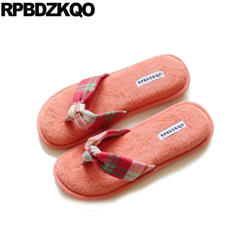 House Gingham Korean Chinese Orange Designer Flip Flops Women Flat Home 2018 Soft -7834