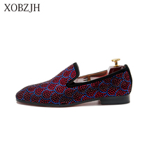 XOBZJH 2019 Shoes Male Loafers Summer Men Luxury Prom Wedding Red Rhinestone Shoes Italian Red Bottom Slip On Shoes DHL Shipping latest red color brilliant summer sandals pumps italian shoes rhinestones african shoes italian elegant wedding shoes yzg7 47