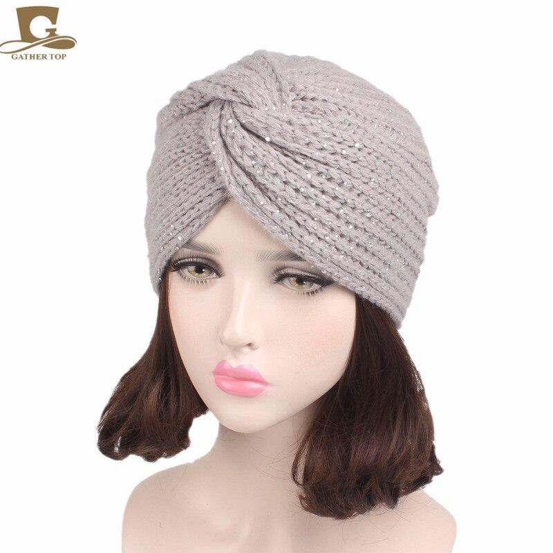517 15 De Réductionnouveau Femmes Strass Hiver Chaud Tricot Turban Croix Torsion Arabe Enveloppe Cheveux Chapeau Cap Beanie In Accessoires