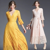 2018 New Spring Autumn Women Long Dress High Quality Solid Color Lace Runway Dress Sexy V