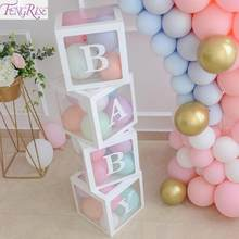 FENGRISE Alphabet Transparent Box Baby Shower Decorations Boy Girl Balloon Box Birthday Party Decor Kid Christening Baptism Gift(China)