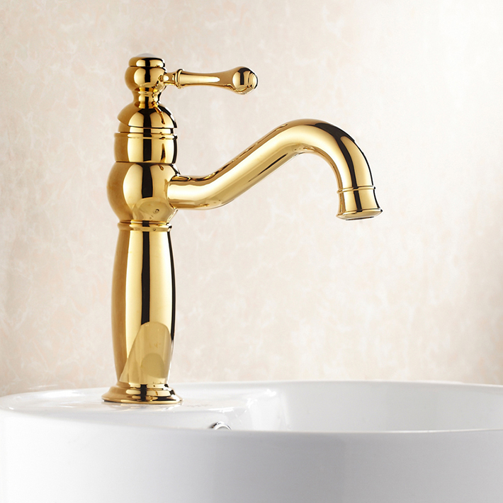 Luxury Brass Gold  Basin faucet Hot Cold Water Mixer Bathroom Lavatory tap with swivel spoutLuxury Brass Gold  Basin faucet Hot Cold Water Mixer Bathroom Lavatory tap with swivel spout
