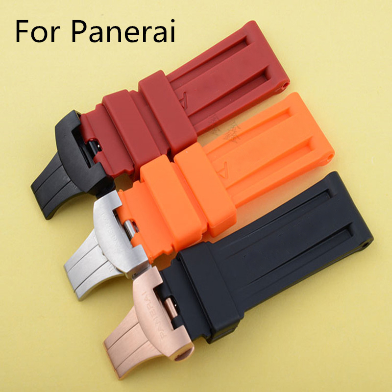 24MM Black Blue Orange Red Waterproof Silicone Rubber Watchband Strap For PAM Panera-i With Butterfly Buckle Clasp Original Logo black blue gray red 18mm 20mm 22mm waterproof silicone watchband replacement sport ourdoor with pin buckle diving rubber strap