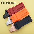 24MM Black Blue Orange Red Waterproof Silicone Rubber Watchband Strap For PAM Panera-i With Butterfly Buckle Clasp Original Logo