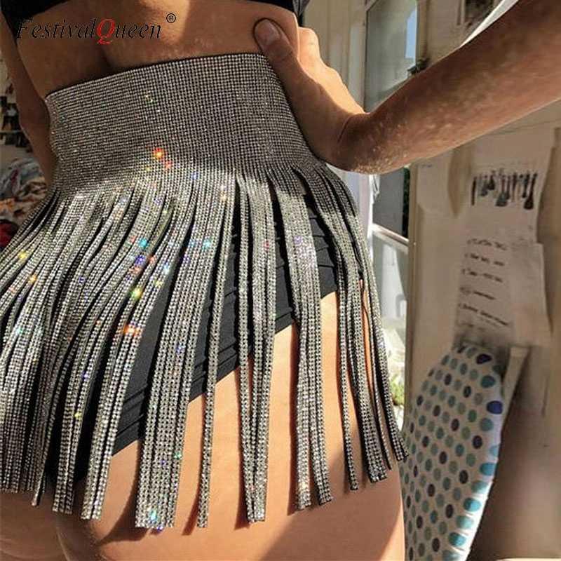 2019 New Sexy Women Sequins Tassel Skirts Sliver Skirt Ladies Sparkly  Diamond Rhinestone High waist Mini 017e21ddd967