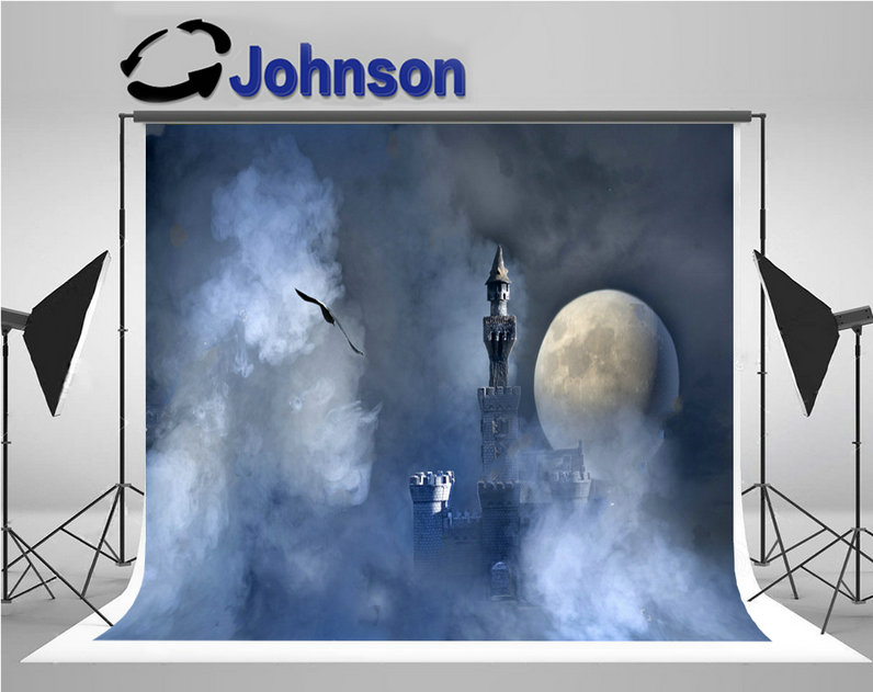 fairy tale old medieval castle clouds full moon background Vinyl cloth High quality Computer print wall backdrop