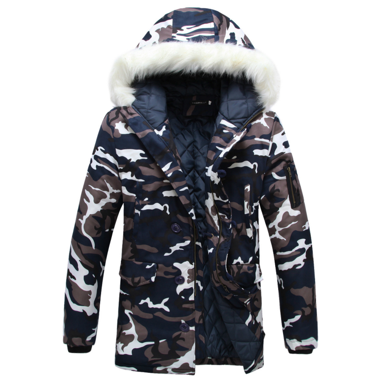 ФОТО Winter parka men Thicken Lovers wadded jacket Camouflage large fur collar cotton-padded jacket outerwear Free shipping M- 3XL