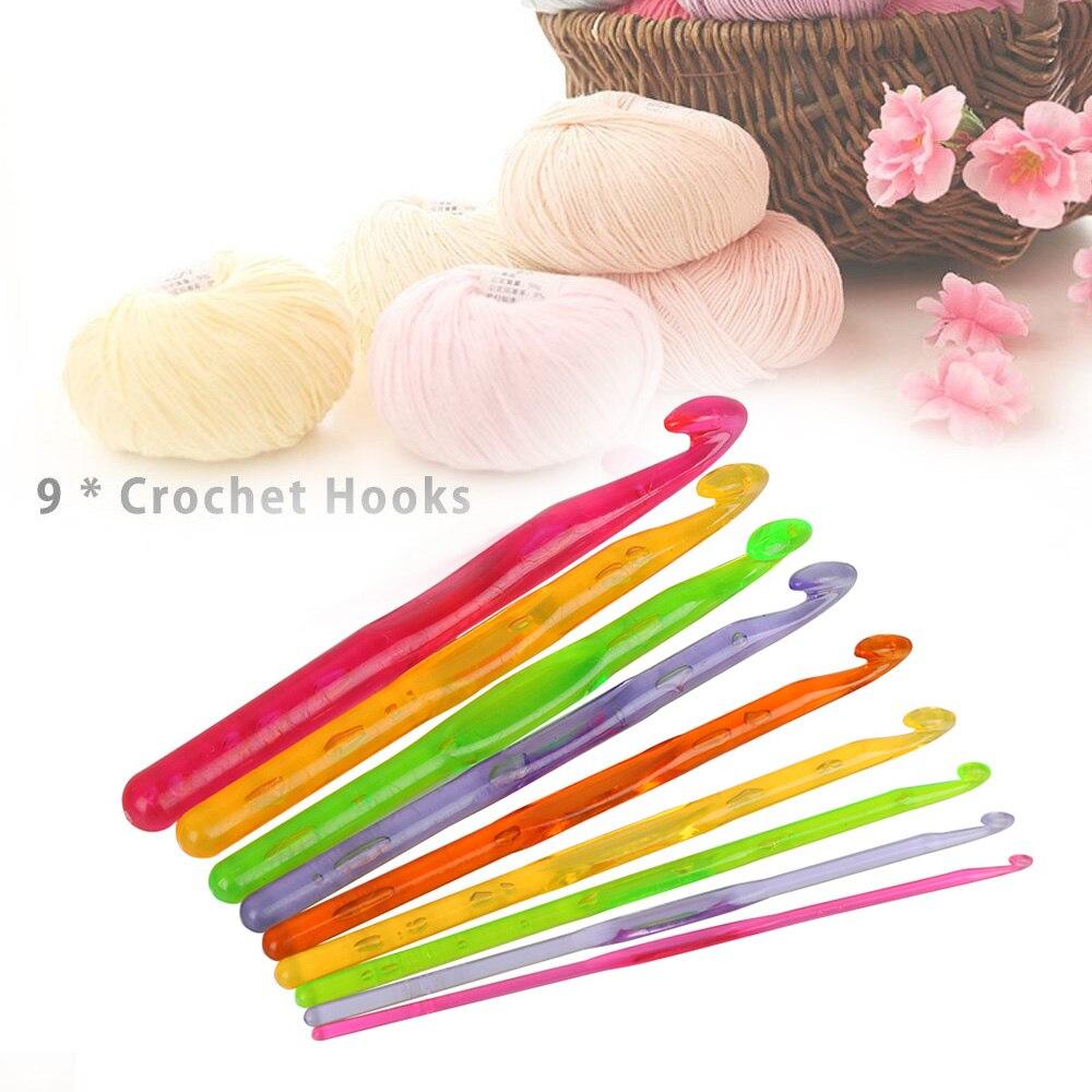 9pcs Color Random 3.0mm-12.0mm Multi-color Plastic Transparent Craft Knit Crochet Hooks Knitting Needles Weave Craft Yarn