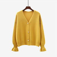 Lantern Sleeve Knitted Cardigan Sweater Women Autumn Winter Pearls Beads Pullover Ruffles Sweater Coats Single Breasted Tops New