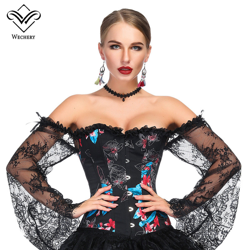 Wechery   Bustier   Sexy Steampunk   Corset   for Women Lace Floral Off Shoulder Tops Retro Victorian Style Corselet Black Blue White