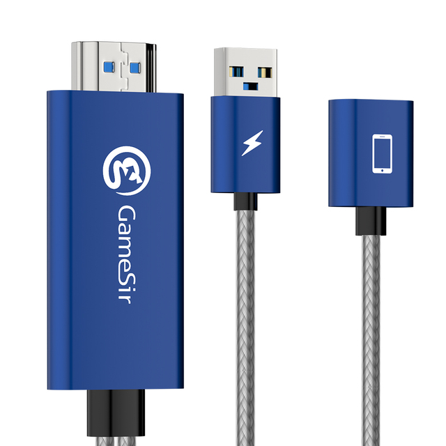 GameSir GTV100 Mini Mobile 1M 1920*1080P HDMI Display Adapter Cable For iPhone/iPad iOS Apple devices and TV Cable Converter