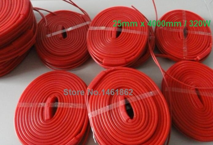 25x4000mm 320W 220V  High quality flexible Silicone Heating belt heat tracing belt Silicone Rubber Pipe Heater waterproof 15mm 4200mm 200w 220v silicone pipe heater tube heating tape heating belt silicone flexible heating band heaters pipe heat