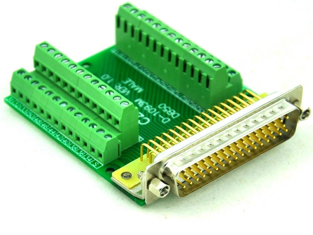 Slim Right Angle D'SUB DB50 Male Header Breakout Board, Terminal Block DSUB Connector.