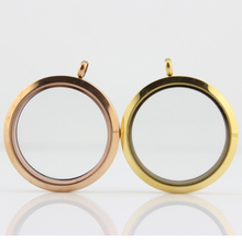 10Pcs/lot 38mm Gold and Rose Magnetic Glass Floating Locket Stainless Steel Large Round Pendants