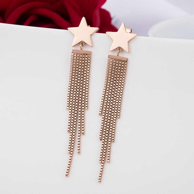 2018 en acier inoxydable forme ronde boucles d'oreilles fantaisie goutte longues boucles d'oreilles femmes bijoux de mode boucles d'oreilles de noël pour les femmes