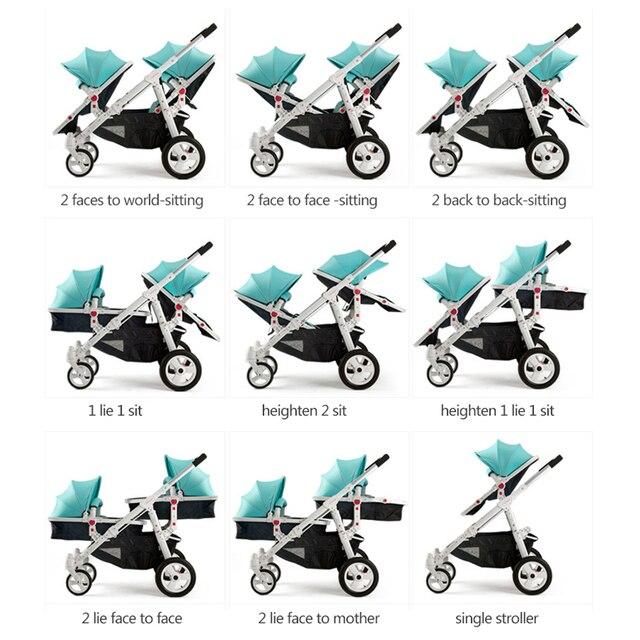 Motherknows tweeling kinderwagen trolley voor en achter licht kinderwagen tweeling auto Luxe twin kinderwagens Scheidbare twin auto 1