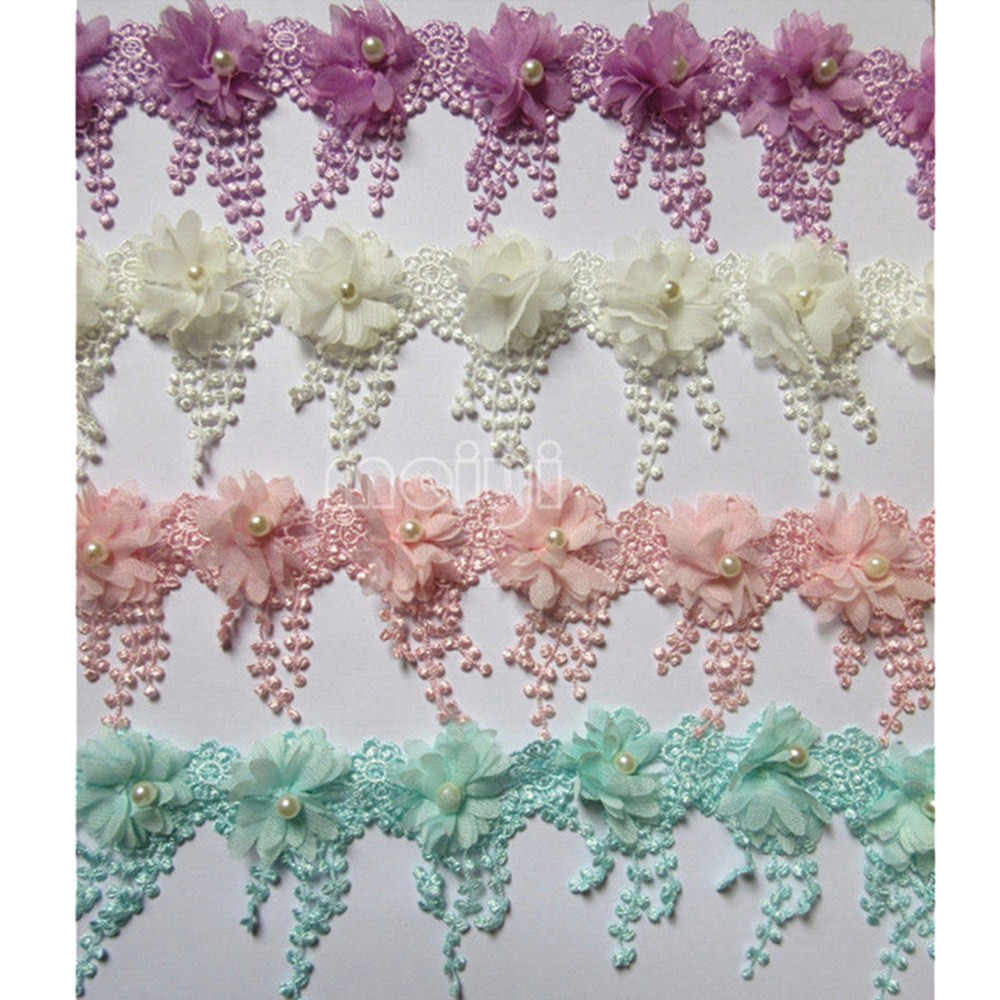 4ace487795c ... 1 Meter 9cm Pearl 3D Flower Tassel Lace Edge Trim Ribbon Fabric Embroidered  Applique Sewing Craft ...