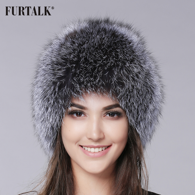 FURTALK Fox Fur Hat for Women Winter Real Genuine Silver Fox Fur Beanie Hats High Quality