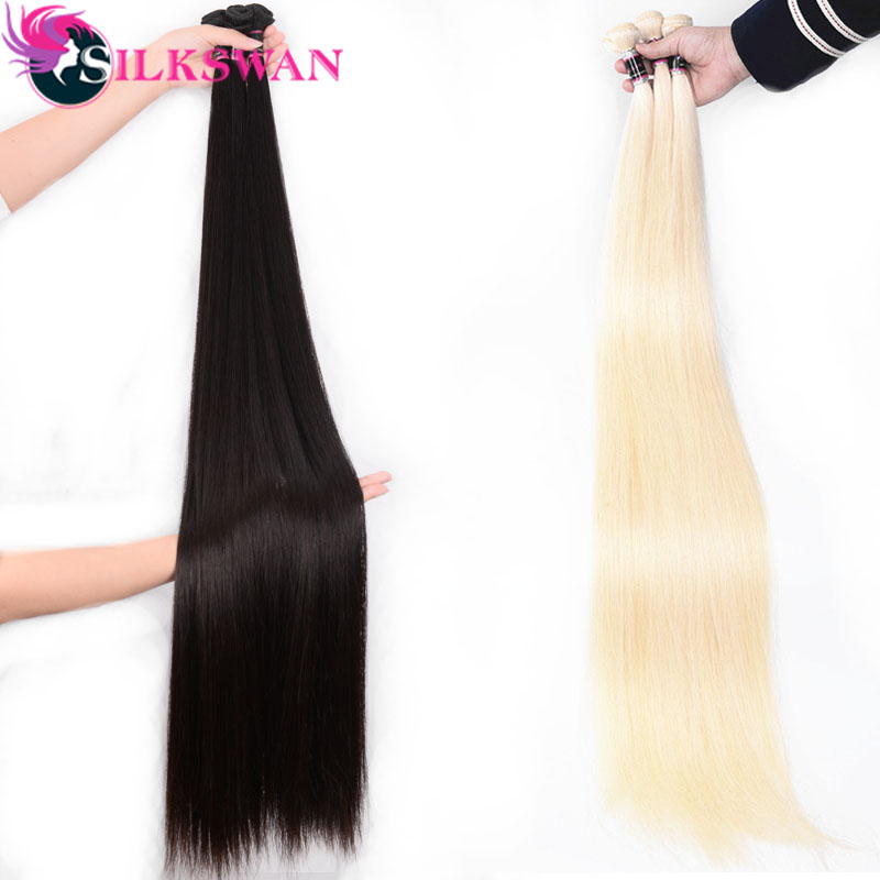 Silkswan Brazilian Human Hair Natural Color And #613 Color 30 Inch 32 34 36 38 40 Inch Bundles For Black Women Remy Hair Bundle