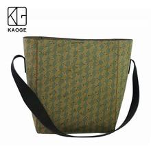 KAOGE women Vegan cork Handmade handbag plaid fashion wood large bag female  Antifouling wide shoulder strap bag 2019 цена