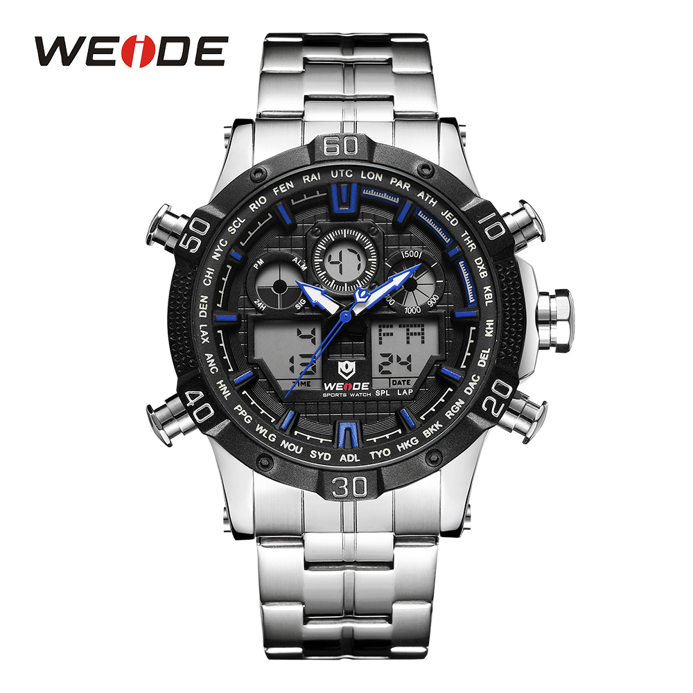 WEIDE Men Military Digital Watch Sport Date Chronograph Back Light Alarm Date Quartz Analog Stainless Steel Band Blue Wristwatch weide luxury brand sport watch quartz analog lcd digital stainless steel band date black dial alarm military men watches wh3403