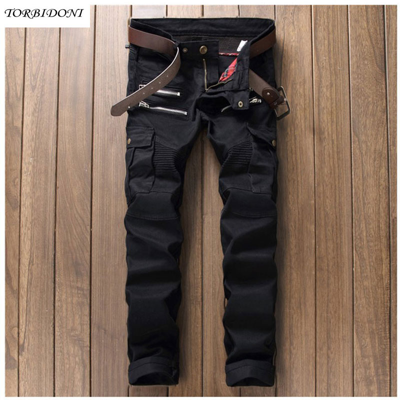 2017 Fashion Patchwork Jeans Men Straight Slim Biker Jeans Famous Brand Clothing Design Denim Jeans Multi Pockets and Zippers 2017 fashion patch jeans men slim straight denim jeans ripped trousers new famous brand biker jeans logo mens zipper jeans 604