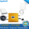 CONJUNTO COMPLETO de 900/1800 mhz sinal móvel impulsionador repetidor de sinal de telefone celular GSM DCS dual band + Display LCD!!! amplificador de sinal GSM