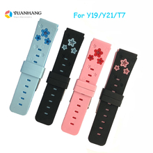 Replace Smart Watch Strap for Y19 Y21 T7  Double Color 20MM Raw Ear Star Watchband Silicone Wrist Belt with Connection