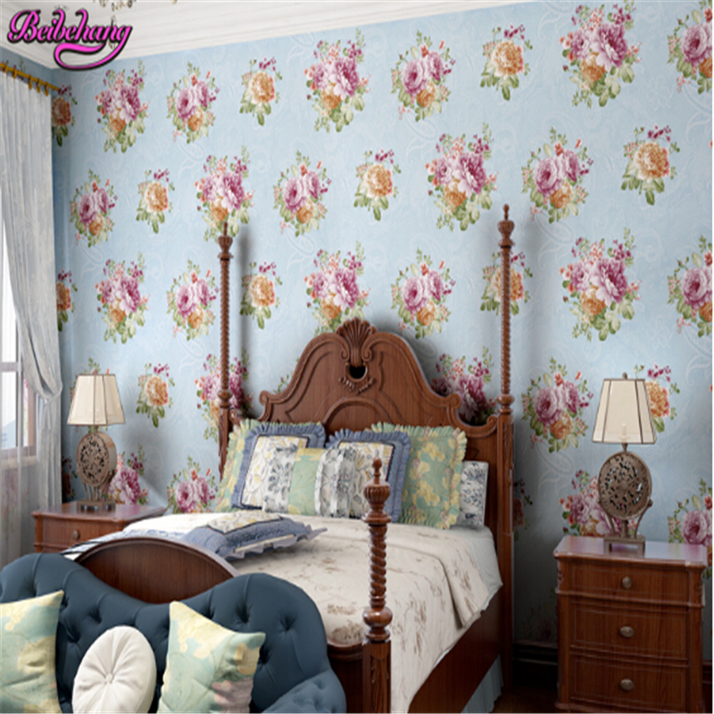 beibehang Romantic garden large flower nonwoven wall paper papel de parede wallpaper bedroom living room wedding room background beibehang papel de parede 3d dimensional relief korean garden flower bedroom wallpaper shop for living room backdrop wall paper page 2
