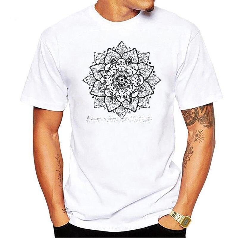 T Shirt Men's Buddha Short Sleeve Mandala Crew Neck Tshirt Buddhism Teenage Tops euro size Fun T-shirt For Men