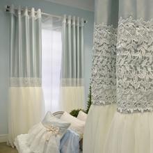Romantic Korean Style Custom Made Luxury Princess Curtain High Quality Embroidery Gauze Curtains Living Room Cortinas