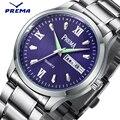 Prema marca japão movment relógio dos homens de aço inoxidável azul moda de pulso de quartzo relógios auto data semana de negócios relogio masculino