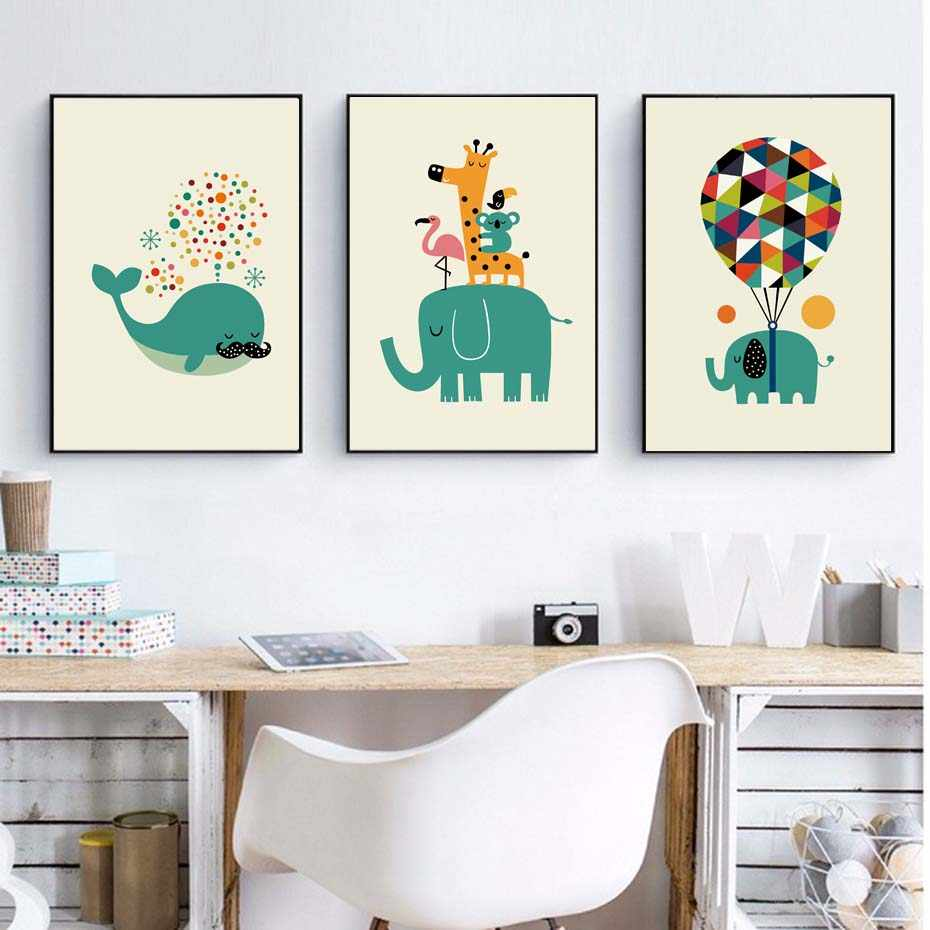 Green Cartoon Animals For Kids Nursery Room Wall Art Murals Poster&Prints Modular Wall Picture For Home Decor Art Chart Bedroom