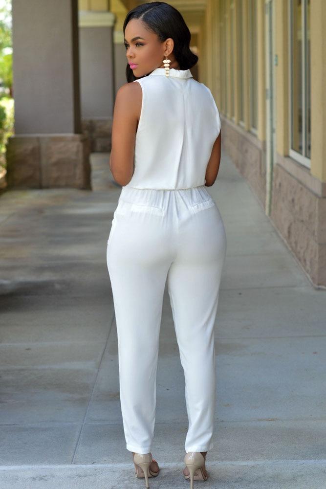 211ec66c7b4 2015 Spring Summer Women Slim Turn Down Collar Jumpsuit Sleeveless V Neck  Long Romper Ladies White Formal Jumpsuit Elegant 60714 on Aliexpress.com