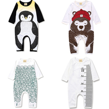 2019 Spring Newborn Baby Boy Girls Romper Cartoon Animal Print Long Sleeve Cotton Romper  Jumpsuit Playsuit Outfits Clothing picturesque childhood footie sleepwear newborn baby romper long sleeve cotton 0 12 months sheep star print baby romper boy