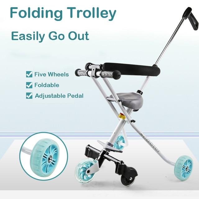 Chariot pliable brillant pour enfant avec clôture Tricycle cinq roues bébé chariot léger pliant bébé porteur 30 KG