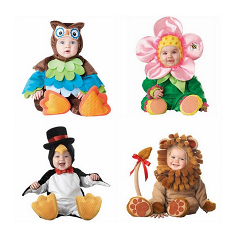 Kids Clothes Fleece Romper Set Baby Boys Girls Jumpsuits Overalls 2017 Winter Animal Cosplay Shapes Halloween Christmas Costume