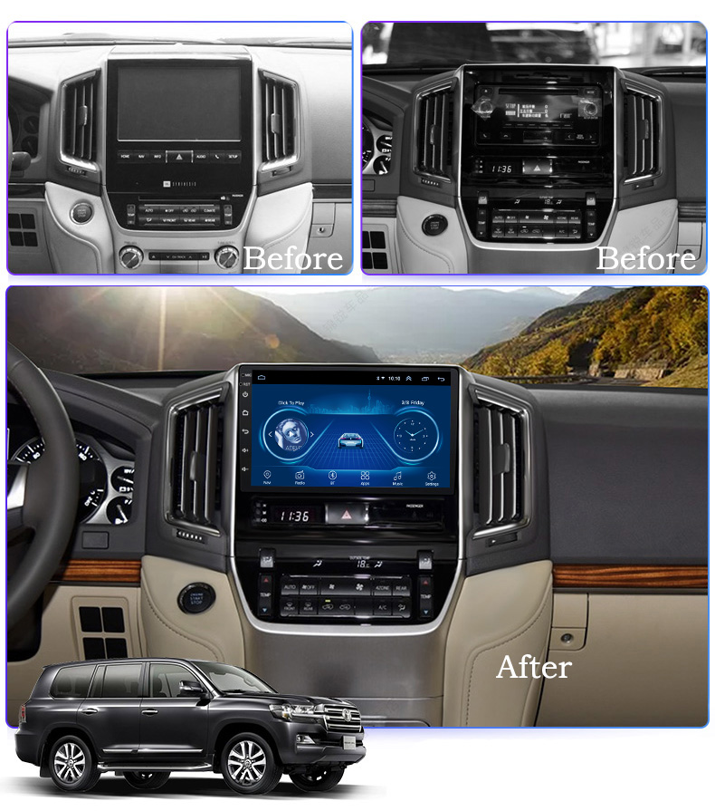 Super Slim Touch Screen Android 8.1 GPS Navigation for toyota landcruiser 2016 headunit tablets Stereo Multimedia Bluetooth image