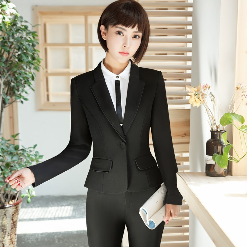 New Autumn and Winter Elegant Black Slim Formal Pantsuits With Jackets And Pants Professional Blazers Trousers Set Plus Size