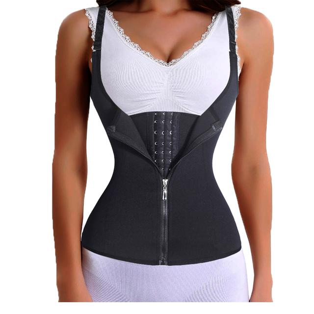 Bodysuit Women Zipper Waist Trainer Cinta Modeladora Body Shaper Tummy Waist Cincher Slimming Tank Tops Corrective Underwear