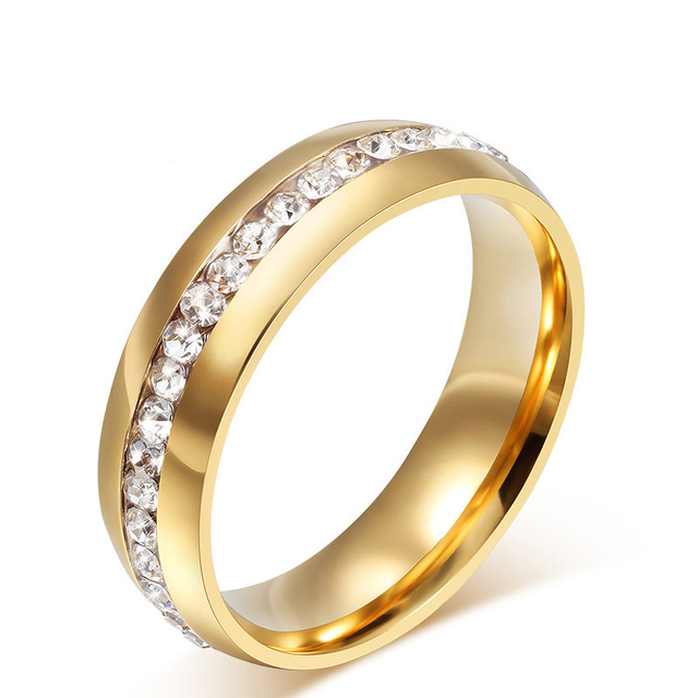 18K Gold Crystal Wedding Rings For Women Fashion Stainless Steel Rings Promotion Discount Jewelry