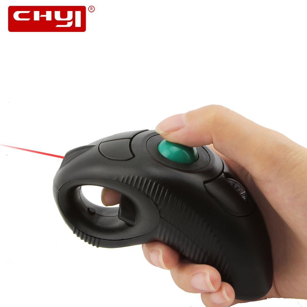 CHYI Wireless Trackball Mouse Ergonomic 2.4G 1000DPI Handheld Mouse With Laser Pointer Air Mice Mause For PC Laptop TV Projector