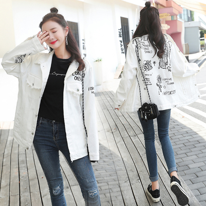 Harajuku Fashion White Graffiti Print Denim Women   Basic     Jacket   Autumn Winter Casual Loose Denim Jeans Women   Jacket   Coat
