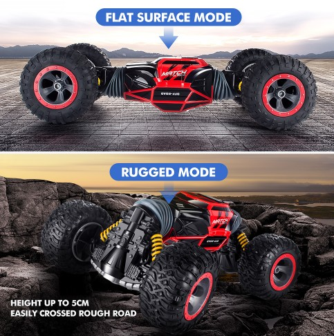 RC Car 4WD Truck Scale Double-sided 2.4G One Key Transformation All-terrain Vehicle Varanid Climbing Cars Remote Control Car Toy