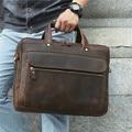 Nesitu Vintage marrón Caballo Loco cuero genuino hombres de oficina maletín 14 ''15,6'' cartera del ordenador portátil bolsos masculinos mensajero M7388
