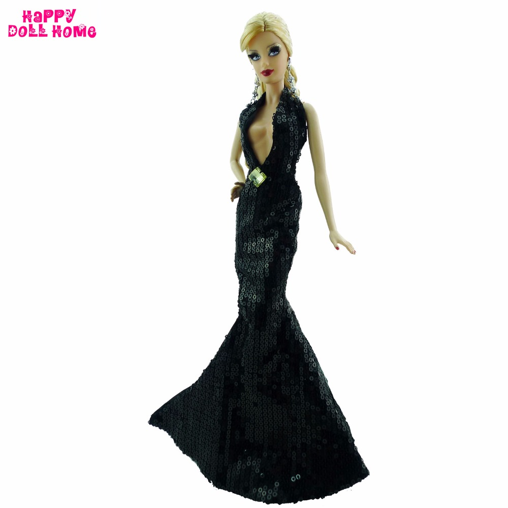 8f4171b4c7e98 US $15.59 |FREE SHIPPING Fashion Sexy Black Dress With Gem Paillette  Fishtail Party Gown Princess Clothes For Barbie Doll Accessories Gift-in  Dolls ...